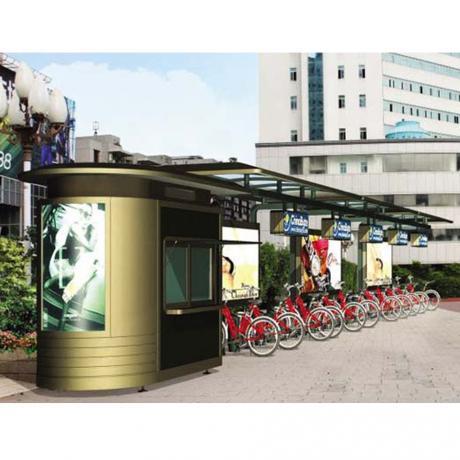 公共自行车亭 不锈钢公交站台 LED滚动灯箱 公共自行车亭