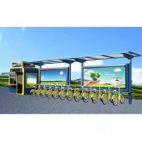 公共自行车亭 户外滚动阅报栏 太阳能公交站台 自行车亭