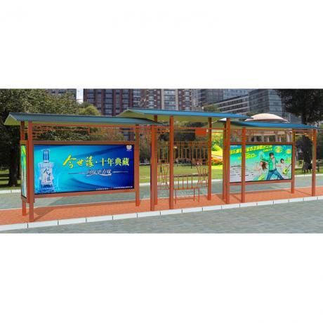 户外公交站台 广东深圳定制中式仿古候车亭 太阳能公交站台